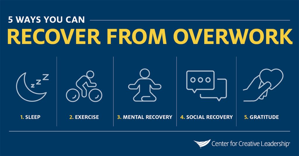 Infographic: 5 Ways to Recover From Overwork - Recovery Practices - How to Foster Resilience & Prevent Burnout