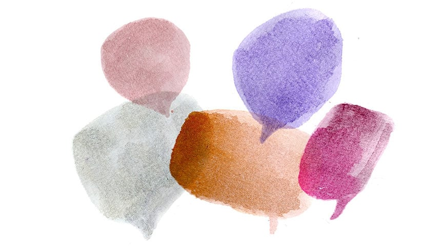 abstract watercolor picture of speech bubbles representing how to have conversations about race concept