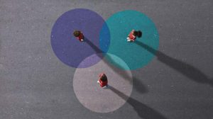 image of people standing on painted venn diagram representing concept of virtual collaboration